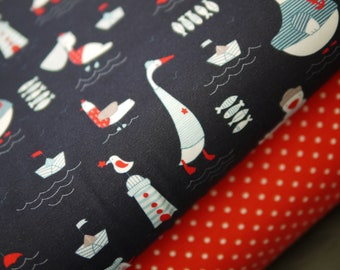 maritime fabric package Jersey seagulls, lighthouse with polka dotjersey red-white