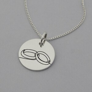 15mm Disc Sterling Silver Engagement Necklace with /'May our story continue forever/' engraved on reverse Engagement Jewelry