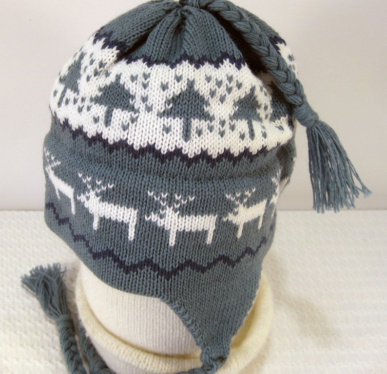 d81faa33637 Childs Ear Flap Hat With Braids Cadet Blue   White Knitted