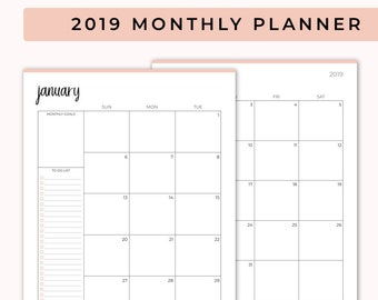 monthly planner printable etsy