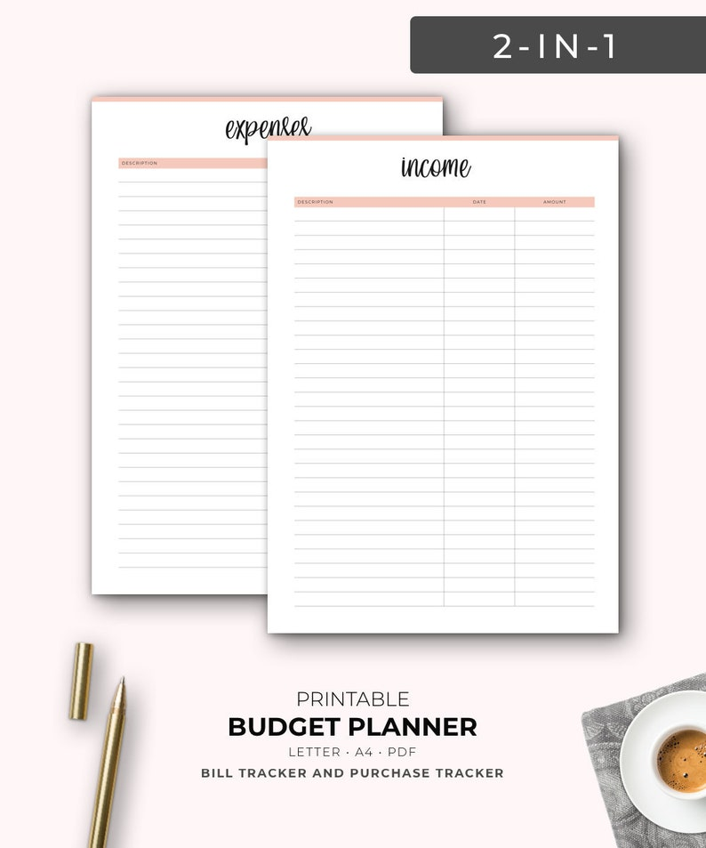 graphic about Income Tracker Printable called Spending budget Planner, Sales Tracker, Charge Tracker, A4 Printable, Letter, Funds Printable, Economical Planner, Revenue organizer, A4 Binder