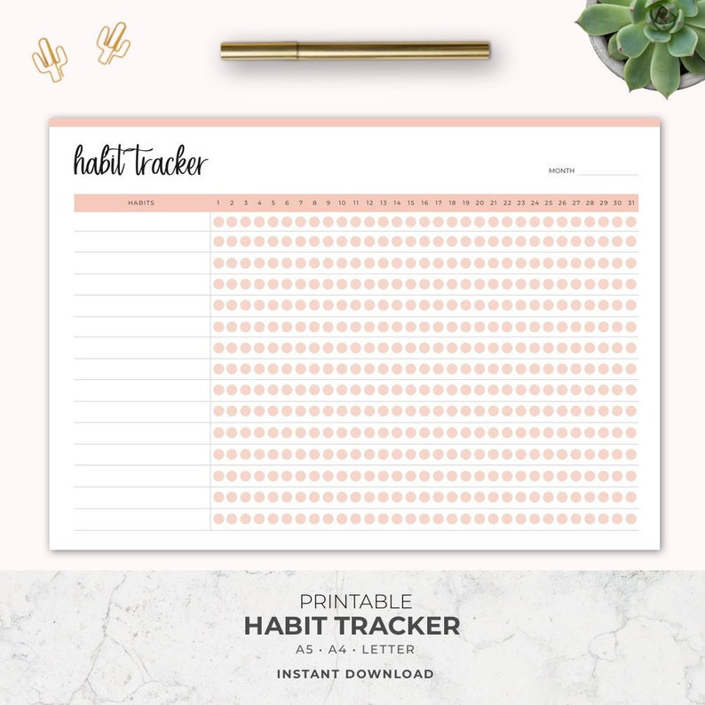 image relating to Habit Tracker Printable named Behavior Tracker Printable, Purpose Planner Ecosystem, Month to month behavior, 30 Working day Behavior Problem, Filofax A5, Fifty percent Measurement, Letter A4, Instantaneous Down load