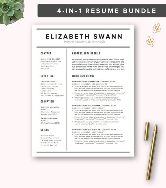 Resume Template Word Free Cover Letter Cv Template Etsy