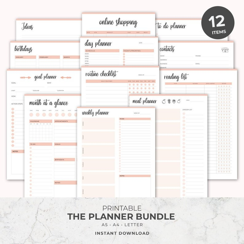 photo regarding Printable Planners referred to as Planner, Planner Package deal, Everyday Planner Printable, Printable Planner, Each day Planner, Planner Printable, a5 planner inserts, Weekly, Every year