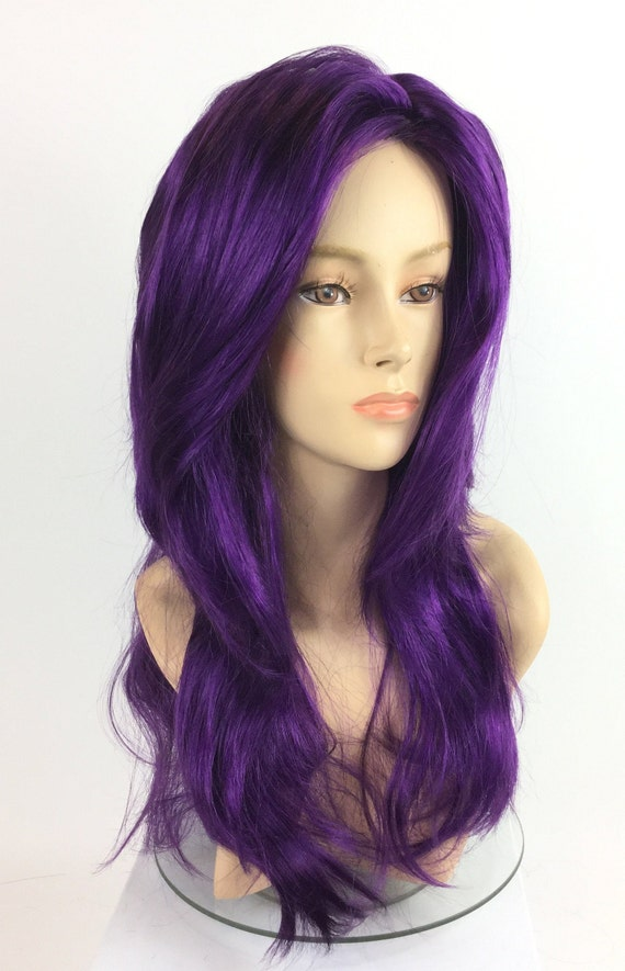 "Long Purple Wig Wavy Hair with Curls Mardi Gras Wig 28/"" Halloween Costume"