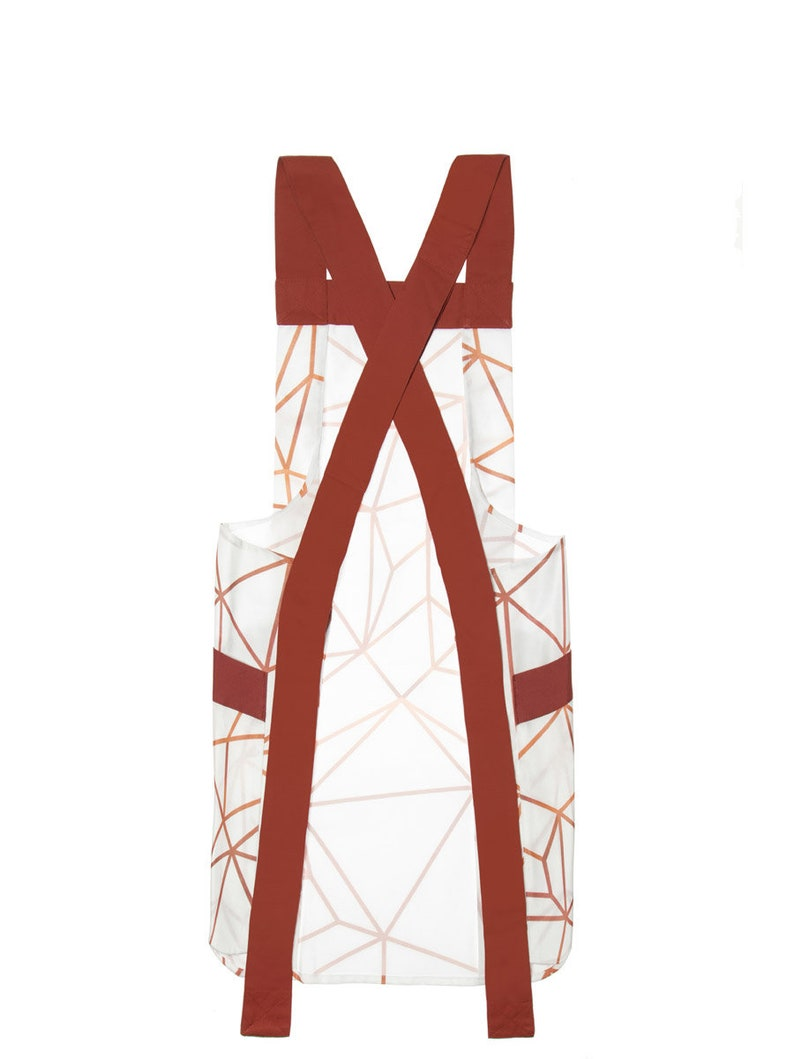 Soft Mat Laminated Cotton One Size fits all Cross back apron Waterproof Apron Copper Hearts Japanese apron Easy to clean Adjustable