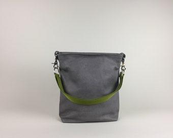 Leather bag grey