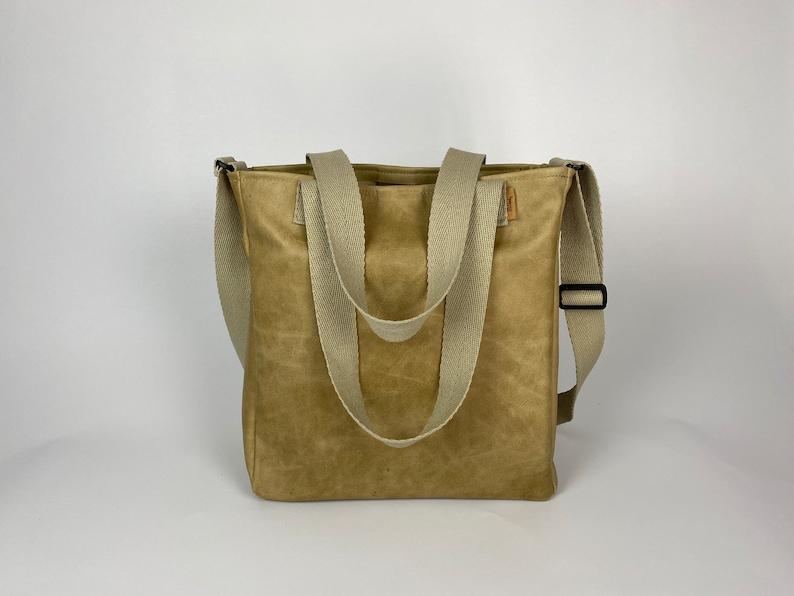 Shopper leather camel image 0