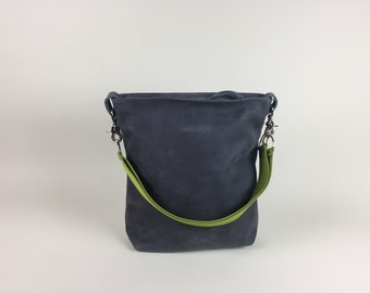 Leather bag velour anthracite