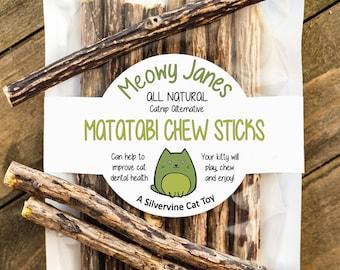 Matatabi Cat Chew Sticks - All Natural Catnip Alternative | Silvervine Cat Toys | A Unique Cat Treat and Gift for Cat Lovers