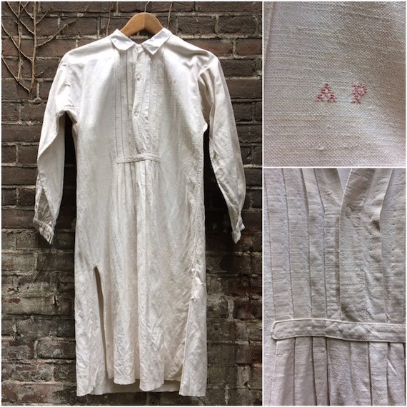 Antique French linen men's shirt with collar, plea