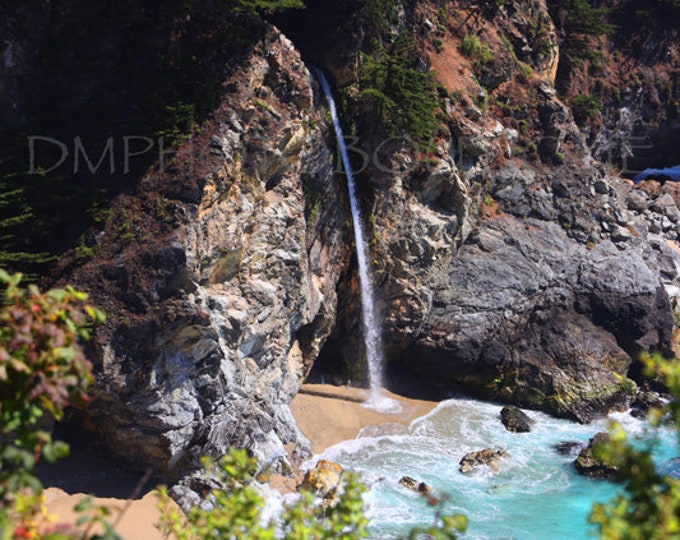 McWay Falls Print, Waterfall Photo, Waterfall Print, Highway 1 Print, Waterfall, Ocean Landscape, Coastal Wall Art, Landscape Photography