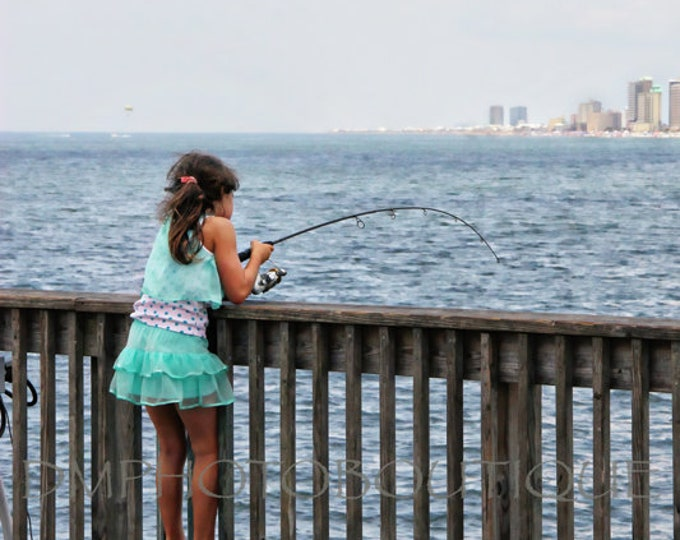 Girl Fishing On Pier Print, Girl Fishing, Fishing, Fishing Print, Fishing Photo, Fishing Decor, Fishing Notecard, Pier Print