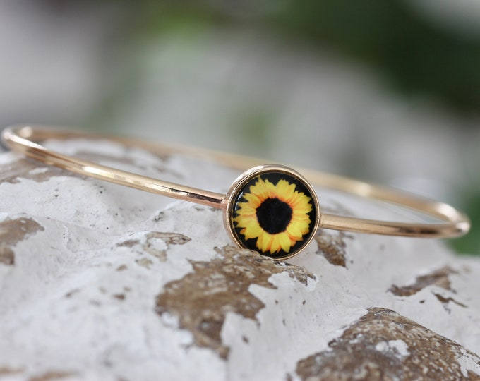 Sunflower Bracelet in Silver or Gold, Sunflower, Sunflower Jewelry, Sunflower Art, Silver Bracelet, Gold Bracelet, Sunflower Bangle