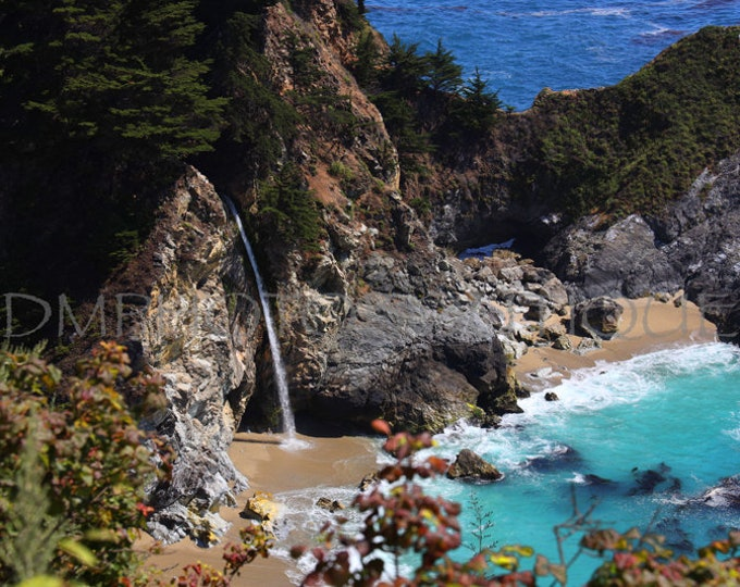 McWay Falls Print, Waterfall Print, Waterfall Photo, Highway 1 Print, Waterfall, Landscape Photography, Ocean Landscape, Coastal Wall Art