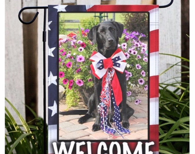 Labrador Retriever Garden Flag, 4th of July Lab Garden Flag, Black Lab, Dog Gifts For Owners, Dog Gifts For Dad, Lab, Labrador Retriever,Dog