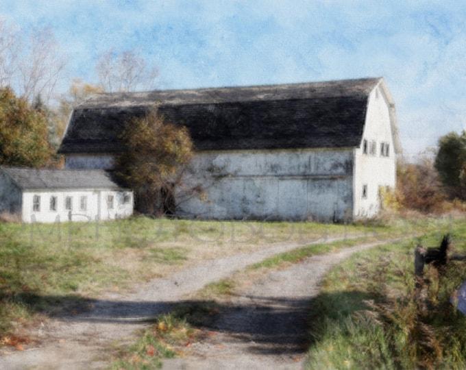 White Barn Print, Fixer Upper Decor, White Barn Landscape, White Barn Picture, White Barn, White Barn Art, Barn Art Print, Barn Canvas
