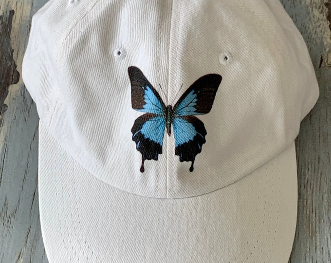 Butterfly Cap, Butterfly Hat, Blue Butterfly Cap, Butterfly Clothing, Nature Hat, insect hat, Women's Hats, Butterfly, Blue Morpho Butterfly