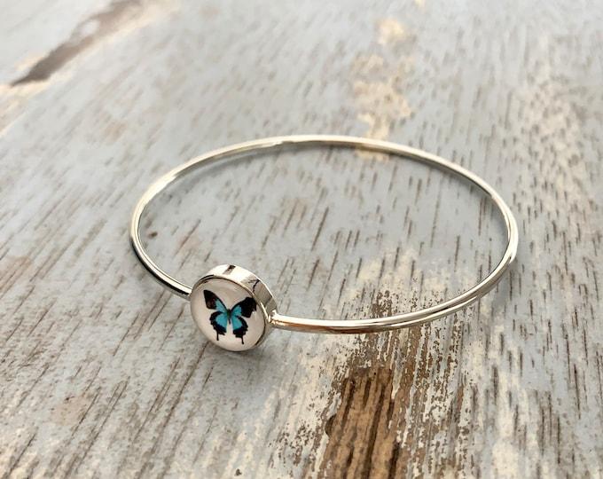 Blue Butterfly Bracelet in Silver, Blue Butterfly Jewelry, Butterfly Bracelet, Butterfly Jewelry, Butterfly Gift, Blue Butterfly
