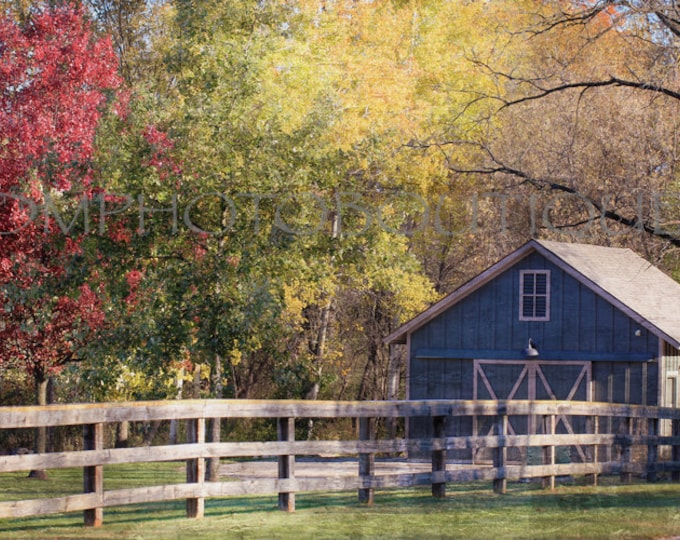 Fall Landscape Photography Print, Fall Colors, Fall Notecards, Barn Photo, Landscape, Farmhouse Photo. Home Decor, Country Decor