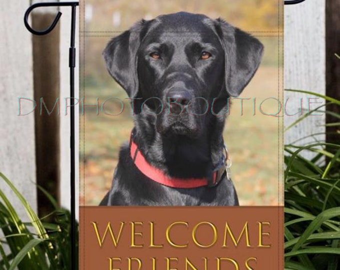 Labrador Retriever Fall Garden Flag, Labrador Retriever Garden Flag, Black Lab Garden Flag, Lab Garden Flag. Labrador Garden Flag, Dog Flag