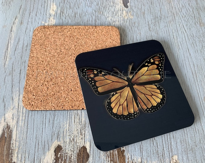 Monarch Butterfly Coasters, Butterfly Coaster, Coaster Set, Butterfly Coaster Set, Butterfly, Drink Coasters, Cute Coasters,Cute Coaster Set