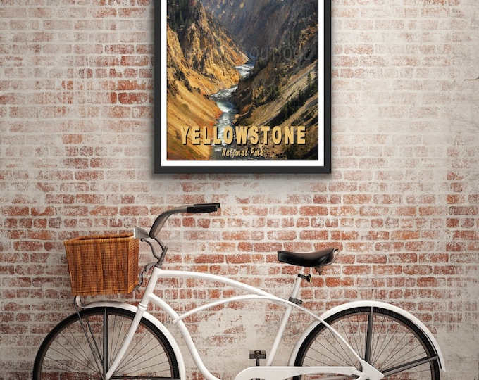 Yellowstone River Poster, Yellowstone Poster, Canyon Of Yellowstone Poster, National Park Poster, Yellowstone National Park Poster