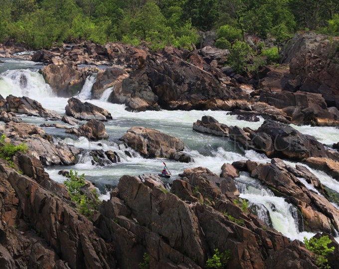 Kayak Print, Kayak Art, Kayak Artwork, Kayak Photo, Kayak Photography, Kayak Canvas, Great Falls, Kayak, Waterfall, Waterfall Art, Virginia