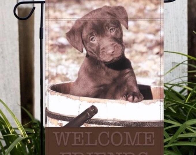 Labrador Retriever Garden Flag, Dog Garden Flag, Dog Flag, Lab Garden Flag, Chocolate Lab Garden Flag, Puppy Garden Flag, Cute Garden Flag