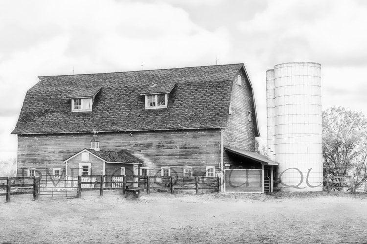 14faa3f547fcb Black And White Barn Farmhouse Decor Black And White Barn Print