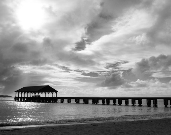Hanalei Bay Print, Beach Print, Beach Photography, Kauai, Ocean Landscape, Black And White Ocean Landscape, Beach Decor, Coastal Living Art