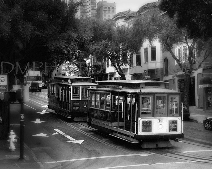 Black And White Trolley Car Print, Trolley Car, Cable Car, San Francisco, San Francisco Art, Street Art, Trolley, San Francisco Wall Art