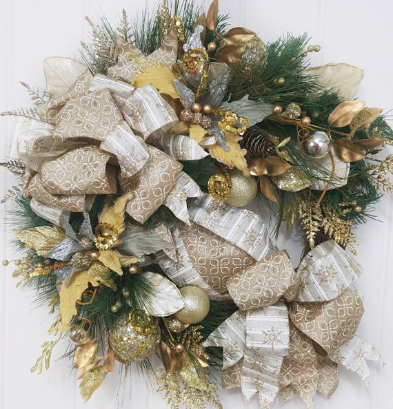 Gold Christmas Wreath.Gold Christmas Wreath Gold Christmas Wreath For Front Door Poinsettia Wreath Traditional Wreath Gold Holiday Wreath Gold Wreath Decor