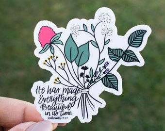 Everything Beautiful / Christian Sticker / Religious Sticker / Inspirational Sticker / Waterproof Sticker / Laptop Sticker / DieCut / Waterb