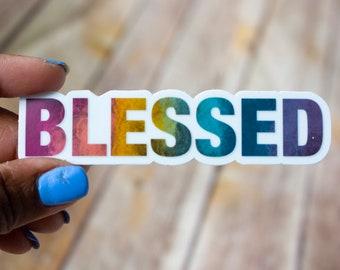 Blessed / Christian Sticker / Religious Sticker / Inspirational Sticker / Waterproof Sticker / Laptop Sticker / DieCut Sticker / Waterbottle