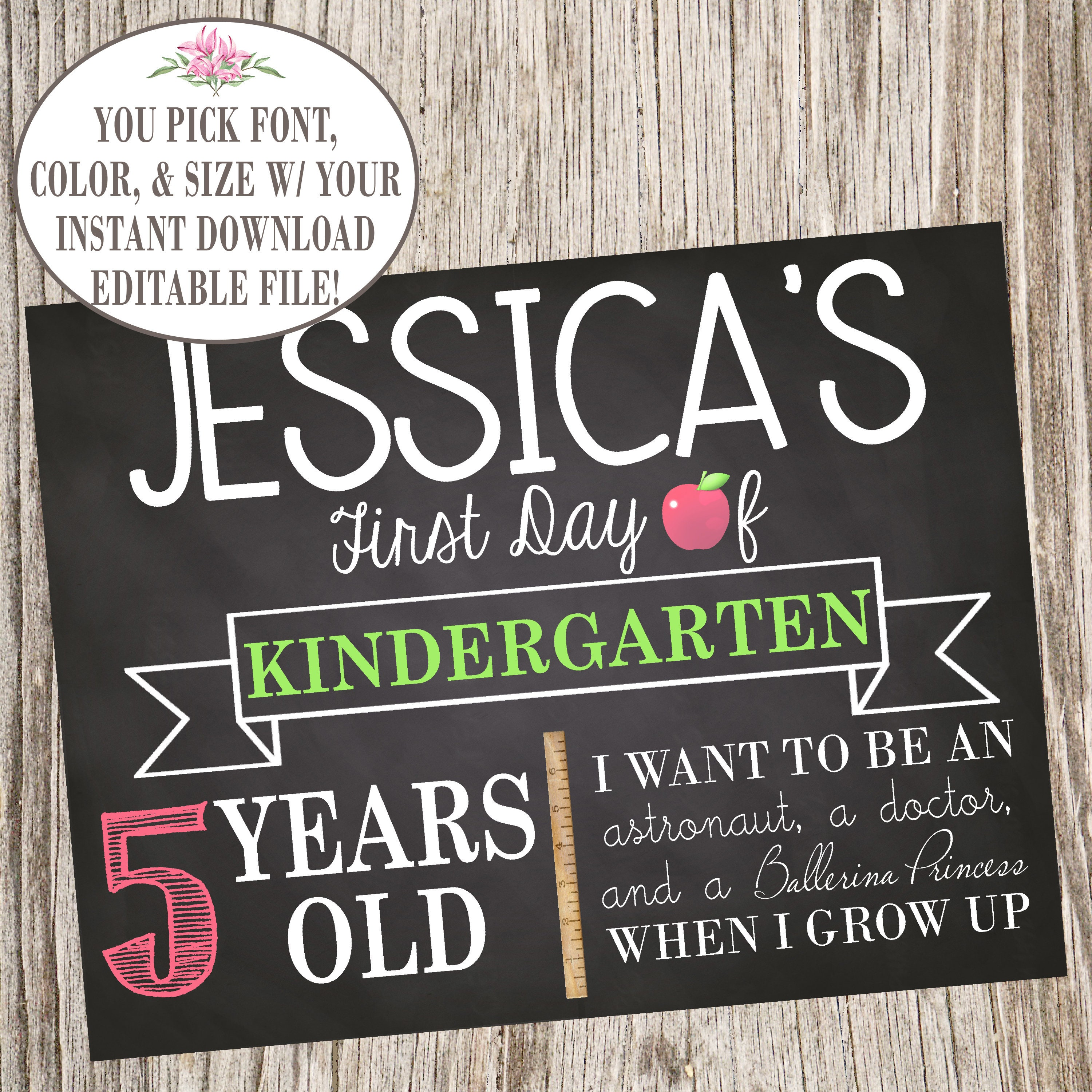 Template Editable First Day Of School Sign Printable Back To Etsy