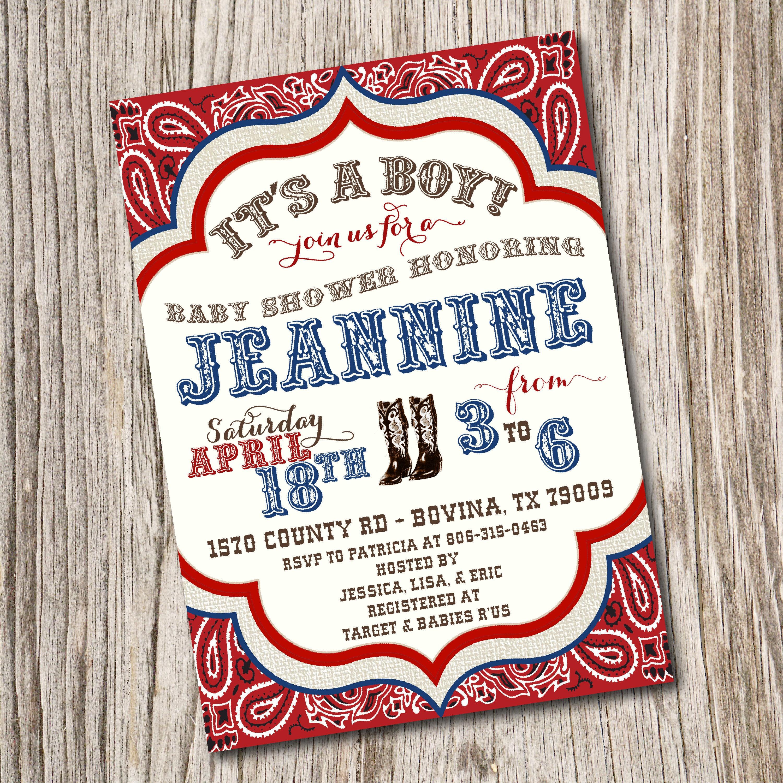 Western Baby Shower Invitation Western Birthday Invitation | Etsy
