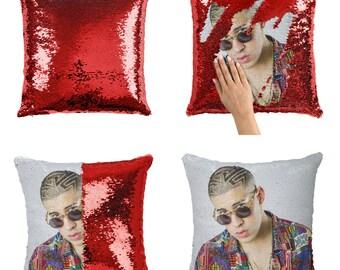 Bad Bunny Rapper Pillow, Singer Rapper Sequin Pillow, Original Gift Pillow,  Christmas Pillow, Funny Gift Pillow, Mermaid Pillow