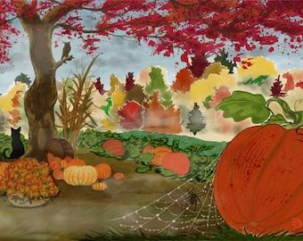 AUTUMNSCAPE - Digital Art Print - Pumpkin Patch - HALLOWEEN - LANDSCAPE