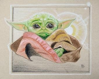 BABY YODA ORIGINAL - Star Wars Tv Art - Mandalorian Art Print/Poster - The Child Star Wars Art - Colored Pencil Baby Yoda Artwork