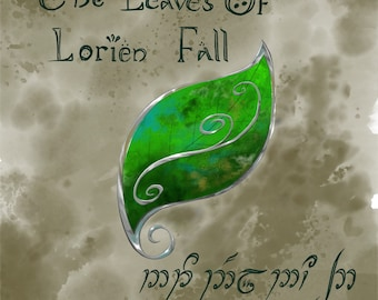 Leaves of Lorien - Lord of the Rings Poster - Tolkien Artwork - Elvish Wall Art - Middle Earth Poster