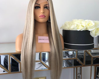 175b3c7bf Natural Glueless Blonde Lowlights-Highlights Full Lace Human Hair Wig With  transparent lace and bleached knots.