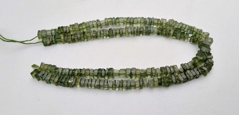 4-5 MM Natural Green Apatite Gemstone Plain Smooth Heishi Square Choki Shape Beads 16 Inch Long 1 Strand Free Shipping
