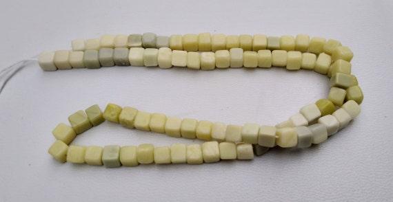 Natural Green Serpentine Gemstone Plain Smooth Square Heishi Choki Shape Beads 4-5 MM 16 Inch Long 1 Strand Free Shipping