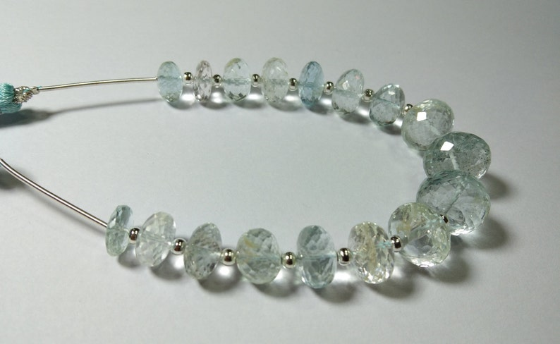 133 Crt Super Top Quality Natural Aquamarine Gemstone Faceted Rondelle Shape Beads 10-14 MM Aproxx 8/'/' Inch Long 1 Strand High Quality Beads