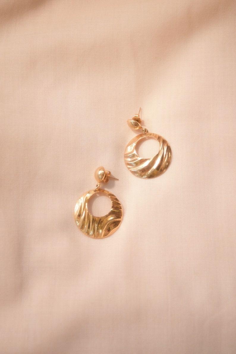 vintage gold wave drop hoops