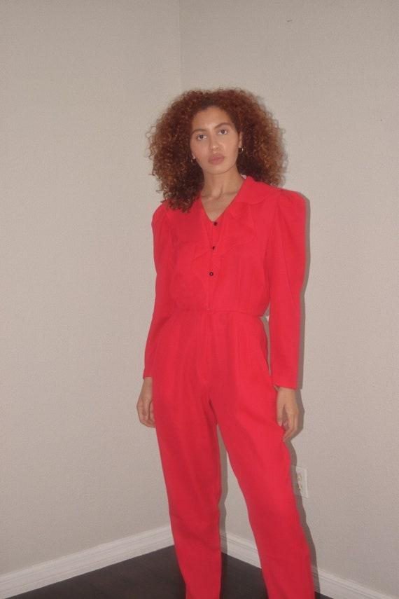 Vintage Hot Pink Ruffle Puff Sleeve Jumpsuit