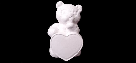 Handmade in USA Valentines Day Bear with Heart Ready to Paint Ceramic Bisque