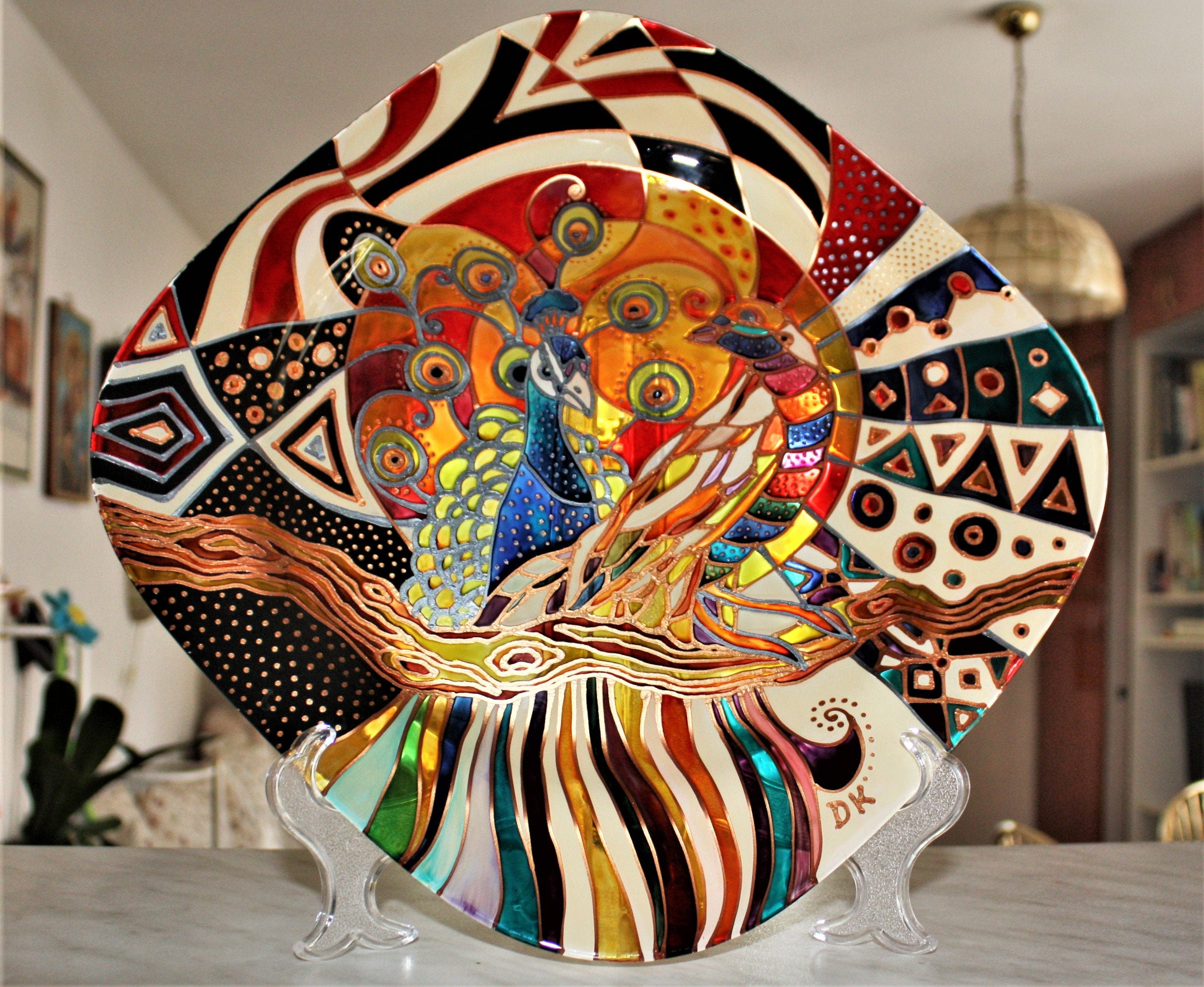 Hand Painted Glass Plate With Stand Boho Decor Exotic Bird Etsy
