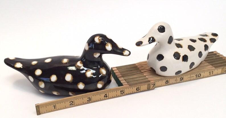 Polka-Ducks, slip-cast from stoneware in my studio  Ducks in color!